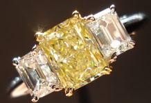 SOLD....Three Stone Diamond Ring: 1.18ct Radiant Cut Fancy Lt Yellow Sam Spade emerald cut side R1419