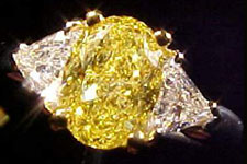 SOLD.....Three Stone Diamond Ring-1.14ct Fancy Vivid Yellow Diamond Ring w/ Trillions GIA R1423