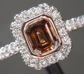 0.71ct Brown VS Emerald Cut Diamond Ring R9206