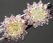 SOLD....1.14ctw Yellow Cushion Cut Diamond Earrings R9251