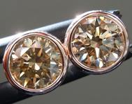 1.42ctw Brown Round Brilliant Diamond Earrings R9385