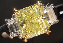 SOLD...Ring- GIA 1.10ct Fancy Yellow Diamond Platinum trapezoid ring R907