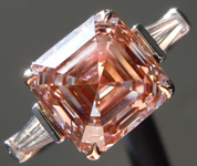 3.99ct Orangy Pink VS2 Asscher Cut Lab Grown Diamond Ring R9491