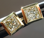 0.37ctw Yellow VS Princess Cut Diamond Earrings R8896