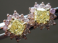 1.13cts Yellow VS Cushion Cut Diamond Earrings R9471