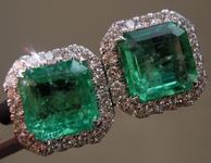 3.03cts Emerald Cut Emerald Earrings R9532