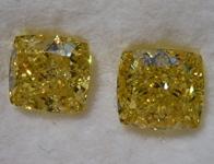 3.09ctw Intense Yellow Cushion Cut Diamond Earrings R9581