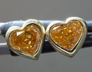 0.52ctw Orange I1 Heart Shape Diamond Earrings R9601