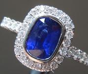 0.98ct Blue Cushion Cut Sapphire Ring R9608