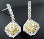 0.78cts Yellow VS Asscher Cut Diamond Earrings R9557