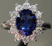 2.24ct Blue Oval Shape Sapphire Ring R9648