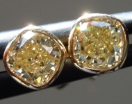 SOLD.....0.76ctw Yellow VS Cushion Cut Diamond Earrings R9703
