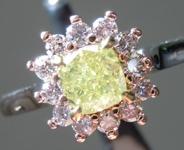 0.55ct Greenish Yellow SI1 Cushion Cut Diamond Ring R9642