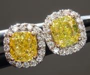 1.02ct Greenish Yellow VS Cushion Cut Diamond Earrings R9708