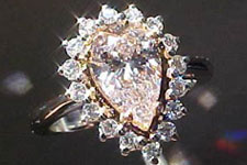 SOLD.....Halo Ring: GIA 1.12ct Light Pink Pear Diamond Halo/Cluster Ring R1489