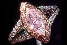 SOLD....Ring: GIA .55ct Fancy Light Purplish Pink Marquise Microset Ring R1491