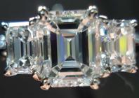 SOLD.....Ring- GIA 1.09 G/VVS1 Emerald Cut Diamond w/ Emerald cut side stones R1471