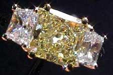 SOLD.....Three Diamond Ring: GIA 1.33ct Square Radiant Diamond Ring w/ trapezoids R1603