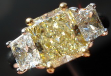 SOLD.....Three Stone Diamond Ring: 1.45ct VVS Radiant Platinum and 18Karat Yellow Gold R1600