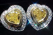 SOLD...Earrings- 2.07ctw Natural Fancy Light Yellow Heart Shape Diamond Earrings R1606