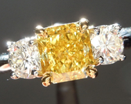 SOLD....Yellow Diamond Ring: 1.01ct VS2 Fancy Vivid Yellow Radiant Cut GIA Three Stone Ring R1702