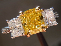 SOLD....Three Stone Ring: GIA 1.33 VS2 Cushion Cut Fancy Intense Yellow Diamond Studded Ring w/Radiant sides R1705