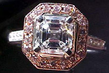 SOLD.......Ring: GIA 1.13ct Asscher Diamond I /VS2 Pink Diamond Halo WG Ring R1699
