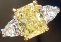 SOLD......Three Stone Ring: GIA 1.51carat Fancy Yellow/VS2 Radiant Cut Diamond Shield sides R1774