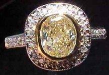 SOLD.....Diamond Ring Special: .95ct VS1 Radiant Cut S-T Light Yellow Diamond HALO ring R1833