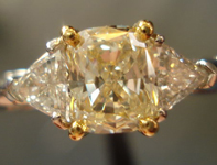 SOLD.....RING SPECIAL 1.03ct SI1 Cushion Cut S-T Color Diamond Platiunm Trilliant Ring R1849