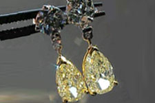 SOLD:...Earrings: 1.97ct total weight Light Yellow Pear Shaped Diamonds R1755