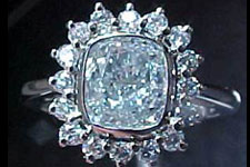SOLD...Halo Ring- GIA 1.25ct Blue Diamond Cushion Cut GIA Report R1887