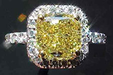 SOLD.......Ring: 1.75ct Fancy Intense Yellow Radiant Cut Microset Diamond Ring R1745