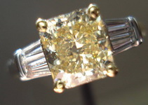 SOLD....Three Stone Diamond Ring: 1.47 Fancy Yellow Radiant Set in Double Baguette Ring VALUE R2079