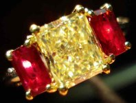 SOLD......Three Stone Diamond and Ruby Ring : 2.04 Fancy Light Yellow VVS1 Radiant R2082
