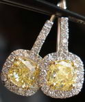 SOLD...Halo Diamond Earrings - Matching 2.22tw Fancy Yellow Cushion Centers GIA R2049