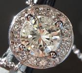 SOLD...Diamond Necklace: 1.29ct O-P I1 Round Brilliant Diamond Halo Pendant R1674