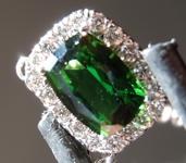 SOLD.........Chrome Tourmaline Necklace: Precision Cut .87ct Cushion Cut Chrome Tourmaline and Diamond Necklace R3890