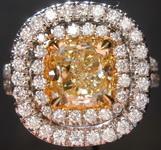 1.34ct Fancy Yellow SI1 Cushion Cut Diamond Ring R4014