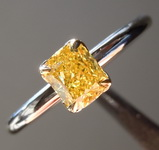 0.72ct Vivid Yellow VS2 Cushion Cut Diamond Ring R5058