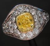 0.66ct Vivid Yellow VS2 Cushion Cut Diamond Ring R5312
