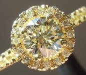 SOLD...Yellow Diamond Ring: .81ct W-X VS1 Round Brilliant Diamond Halo Ring GIA R5904