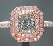 .71ct Fancy Green VS1 Radiant Cut Diamond Ring GIA  R5928