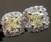 SOLD...1.11cts Light Yellow Cushion Cut Diamond Earrings R6015