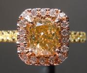 SOLD...Orange Diamond: 1.02ct Fancy Brownish Yellowish Orange SI2 Radiant Cut Diamond Halo Ring GIA R6042
