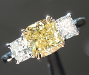 1.26ct Fancy Intense Yellow VS2 Cushion Cut Diamond Ring GIA R6222