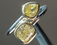 1.19ctw Yellow Cushion and Pear Diamond Ring R6240