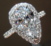 SOLD.....Colorless Diamond Ring: 1.71ct F I1 Pear Shape Diamond Halo Ring R6365