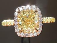 1.53ct Yellow VS2 Cushion Cut Diamond Ring R6427
