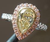 SOLD...Yellow Diamond Ring: 1.00ct Y-Z VVS2 Pear Shape Diamond Halo Ring GIA R6453